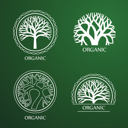 Green Circle Tree vector label design. eco concept.Vector Illustration.