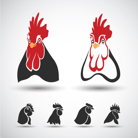 black and white farm: Chicken head icon isolated on white background. Vector illustration Illustration