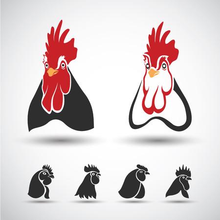 granja avicola: Icono de la cabeza del pollo aislado en el fondo blanco. Ilustraci�n vectorial Vectores