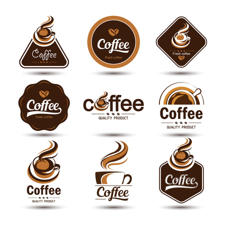 coffee badges and label icon set , vector illustration  イラスト・ベクター素材