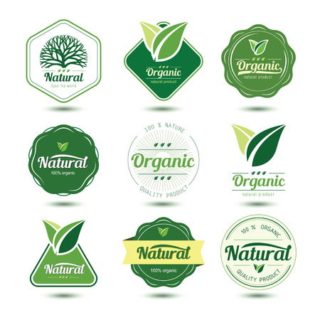 sticker: Organic labels and badges with green tree and leave , vector illustration Illustration