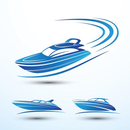 speed: Speed boat symbol set vector.illustration Illustration