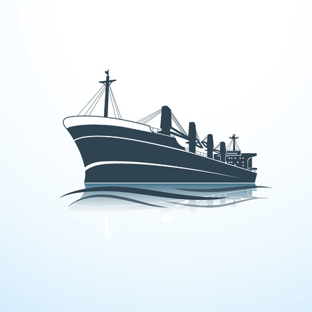 silhouettes of the sea cargo ship,vector illustration Vettoriali