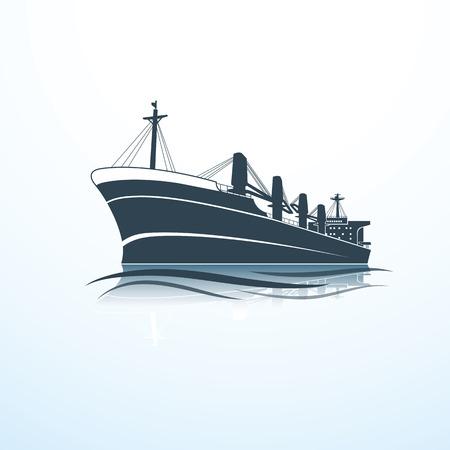 siluetas de la nave de carga de mar, ilustración vectorial Vectores