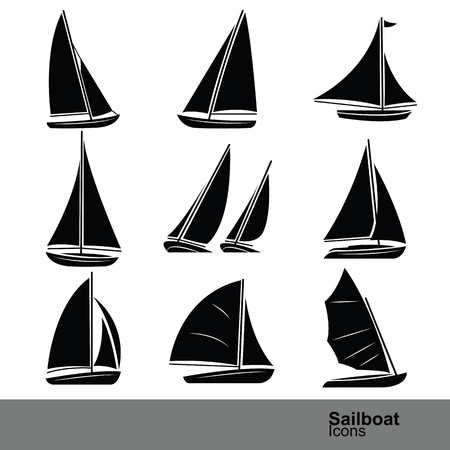 sailboat: sailboat silhouette icon set ,vector illustration