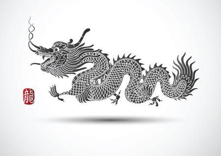 dragones: Ilustración de la tradicional chino del dragón, ilustración vectorial
