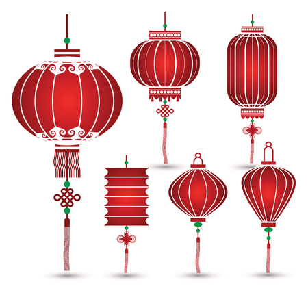 red happiness: Chinese Lantern Collection set ,vector illustration Illustration