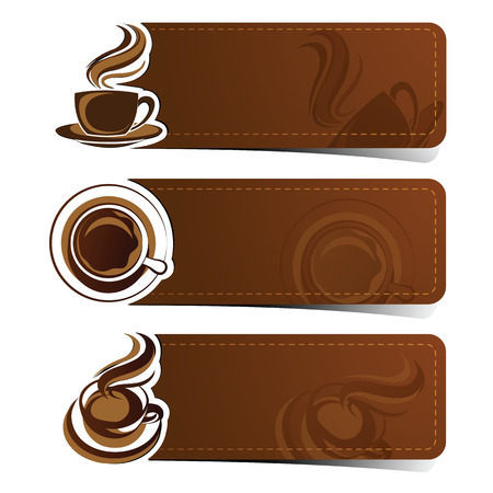 Banner set of vintage coffee backgrounds. Menu for restaurant,vector illustration