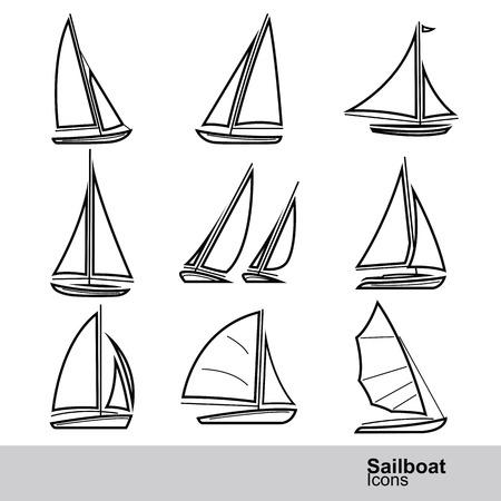 sailboat: sailboat line icon set ,vector illustration