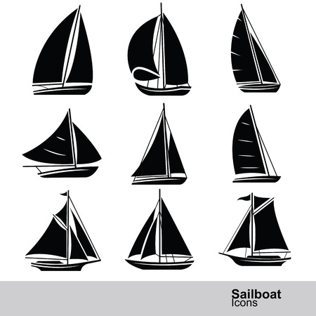 yacht isolated: sailboat silhouette icon set ,vector illustration