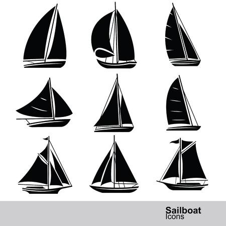 voilier ancien: voilier silhouette, icône, ensemble, illustration vectorielle
