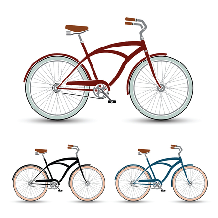 cruiser bike: cruiser Style Bicycles set vector illustration Illustration