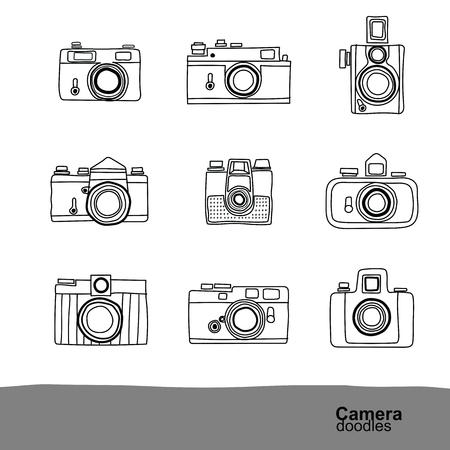 film camera: Retro camera doodles icons set , vector Illustration Illustration