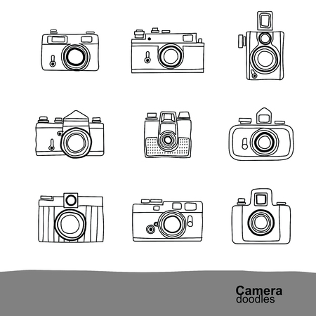 Retro camera doodles pictogrammen instellen, vector illustratie