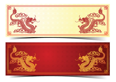 chinese style: Chinese traditional template with chinese dragon on red Background