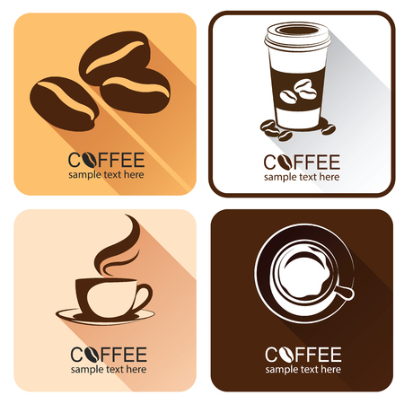 chicchi di caff?: Icone di caffè illustrazione elementi di disegno vettoriale
