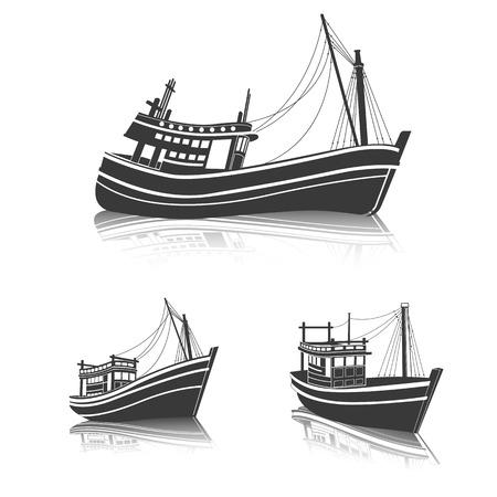 pesca: Pesca en la vista lateral del barco en el mar, ilustración vectorial