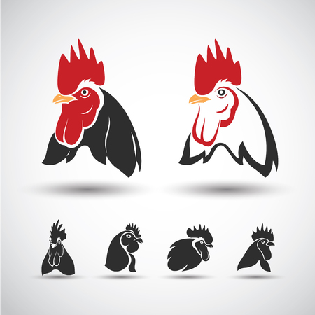 rooster: Chicken head icon isolated on white background. Vector illustration Illustration