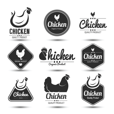 poultry animals: labels and badges set of chicken meat and eggs,vector illustration