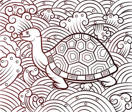 パターンの背景、ベクトル図に中国亀アート