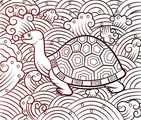 ancient turtles: chinese turtle art on pattern background,vector illustration Illustration
