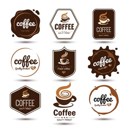 chicchi di caff?: distintivi di caffè e l'etichetta set di icone, illustrazione vettoriale Vettoriali