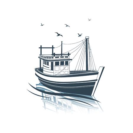 Fishing Boat side view on sea , vector illustration Ilustração