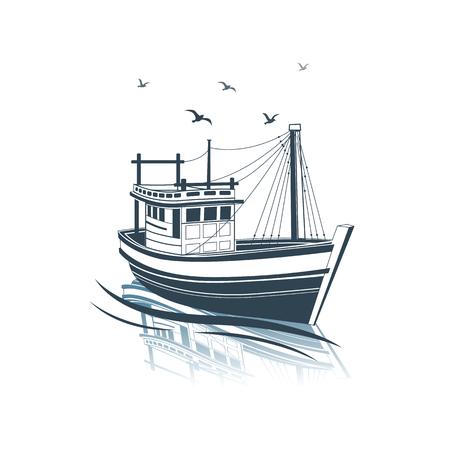 barca da pesca: Peschereccio vista laterale sul mare, illustrazione vettoriale