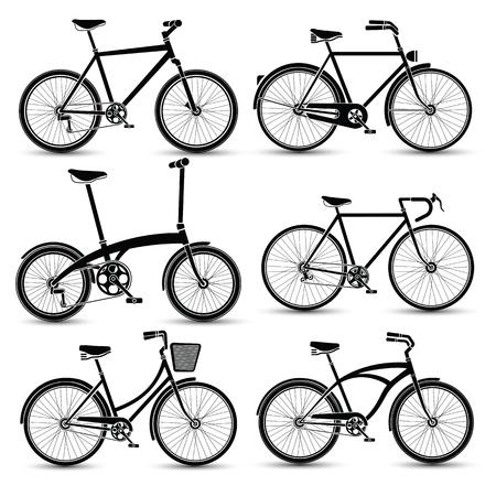 bicyclette: silhouette de v�los icon set illustration vectorielle