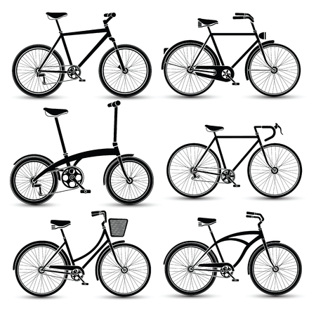 silhouette of Bicycles icon set vector illustration 版權商用圖片 - 46035861