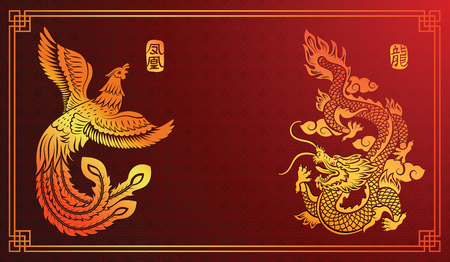Chinese traditional template with chinese dragon and phoenix on red Background