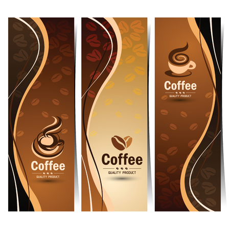 vector backgrounds: Banner set of vintage coffee backgrounds. Menu for restaurant,vector illustration