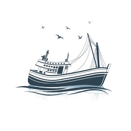 sea side: Fishing Boat side view on sea , vector illustration Illustration