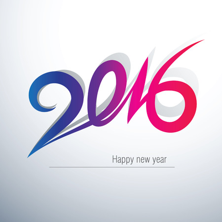 event calendar: Happy new year 2016 Text Design,vector illustration