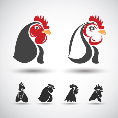 poultry farm: Icono de la cabeza del pollo aislado en el fondo blanco. Ilustración vectorial Vectores