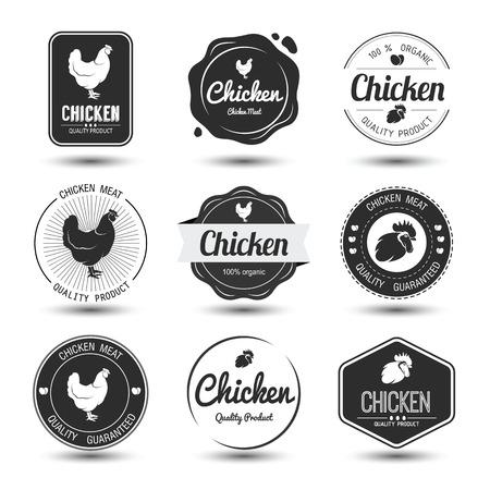 carne de pollo: etiquetas e insignias conjunto de carne y huevos de pollo, ilustración vectorial Vectores