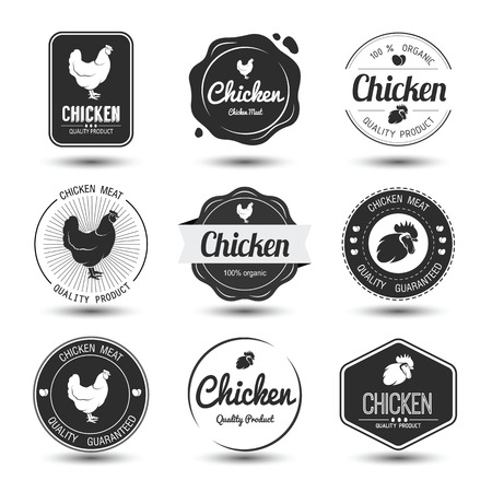 poultry: labels and badges set of chicken meat and eggs,vector illustration