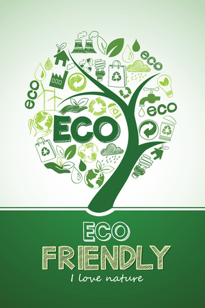 natural energy: Eco tree Friendly formed by Icons , Vector Illustration Illustration