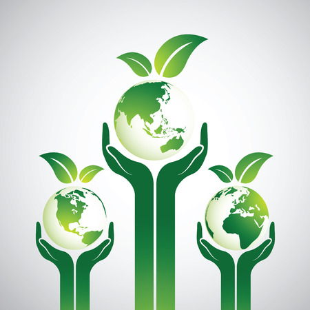 recycling plant: Hands Holding The Green Earth Globe with leaves ,Vector Illustration