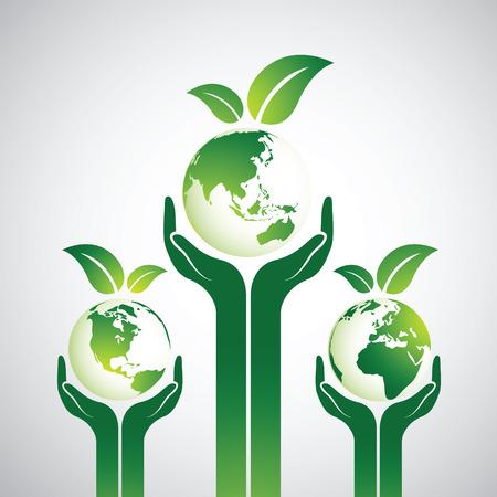 cogidos de la mano: Manos que sostienen la tierra verde Globo con las hojas, ilustración vectorial