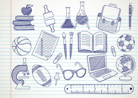 icono deportes: fuentes de escuela doodles conjunto dibujado a mano, ilustración vectorial