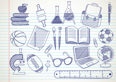 school supplies doodles set hand drawn , vector illustration
