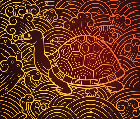 feng shui: chinese turtle art on pattern background,vector illustration Illustration