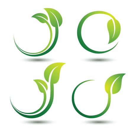 verde: Concepto de etiquetas verdes con hojas, ilustración vectorial