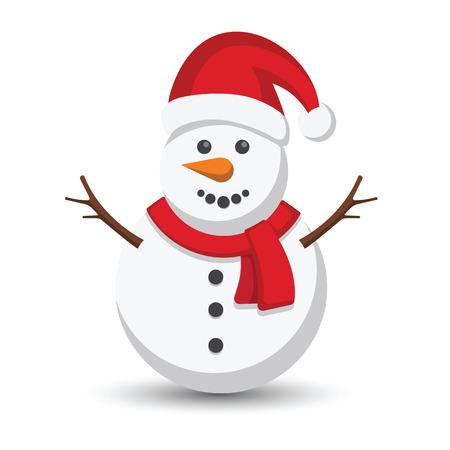 �illustration: Ilustraci�n vectorial Mu�eco de nieve en el fondo blanco