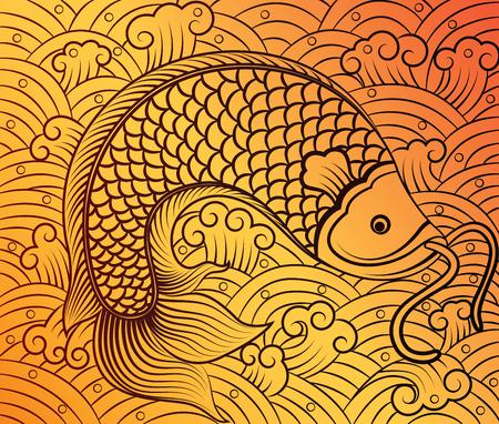 papercut: chinese fish art on pattern background,vector illustration