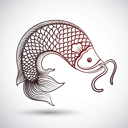chinese fish art ,vector illustration Illustration