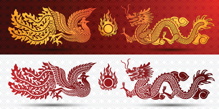 dragon fly: Chinese traditional template with chinese dragon and phoenix on red Background