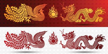 Plantilla tradicional china con el dragón chino y el fénix sobre fondo rojo