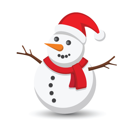 Snowman vector illustration on white background Stok Fotoğraf - 47791581